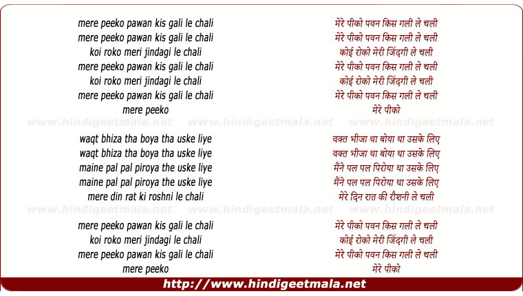lyrics of song Mere Peeko Waqt Beeja Tha
