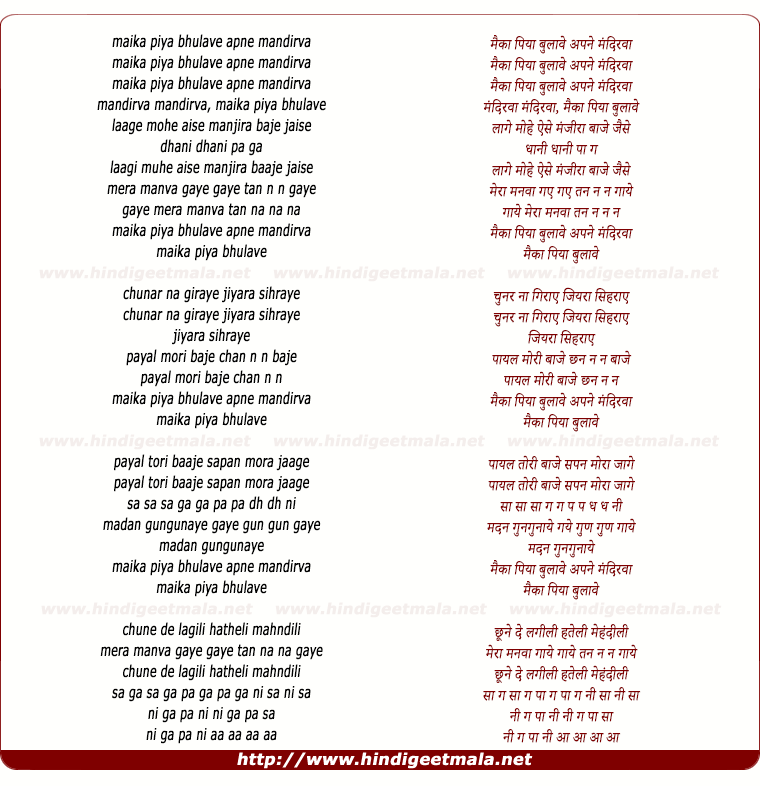 lyrics of song Maika Piya Bhulave