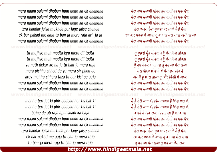 lyrics of song Mera Naam Salami Doban