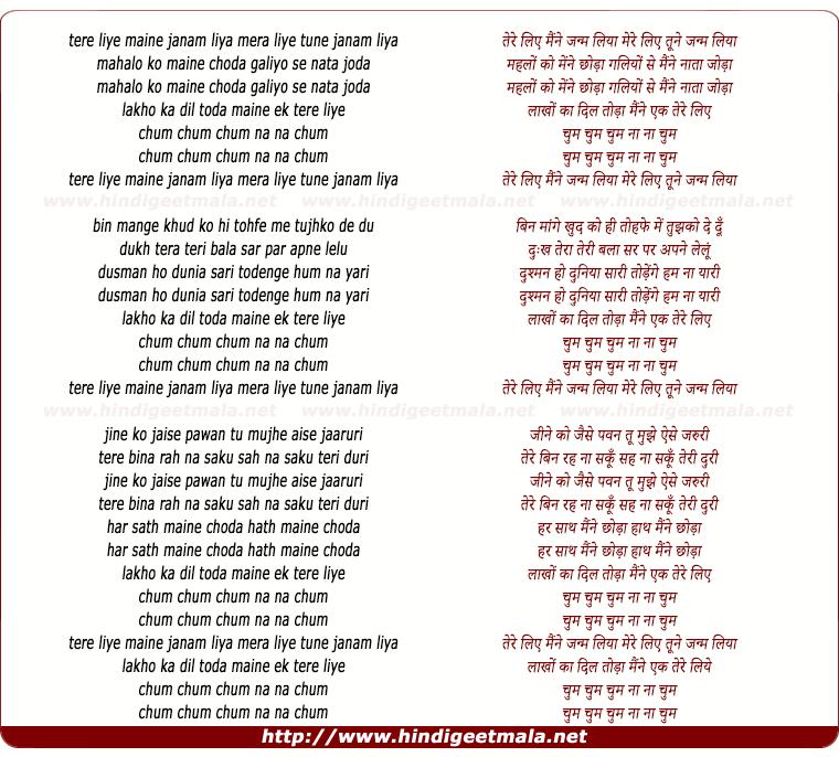 lyrics of song Tere Liye Maine Janam Liya, Mere Liye Tune Janam Liya