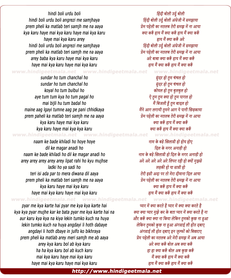 lyrics of song Hindi Boli Urdu Boli Angregy Me Samjhaya