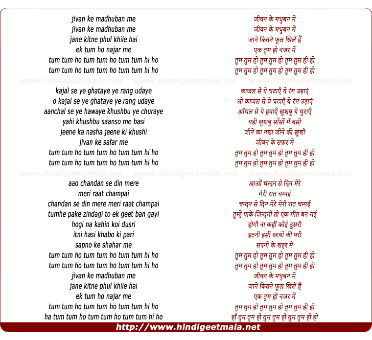 lyrics of song Jeevan Ke Madhuban Me