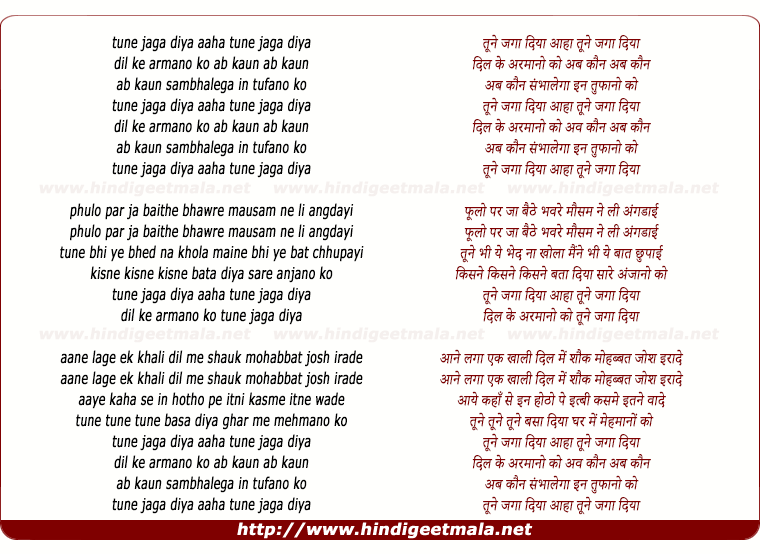 lyrics of song Tune Jaga Diya, Dil Ke Armaano Ko