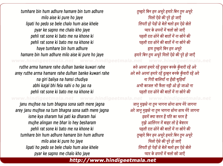 lyrics of song Tumhare Bin Hum Adhoore, Humare Bin Tum Adhoore