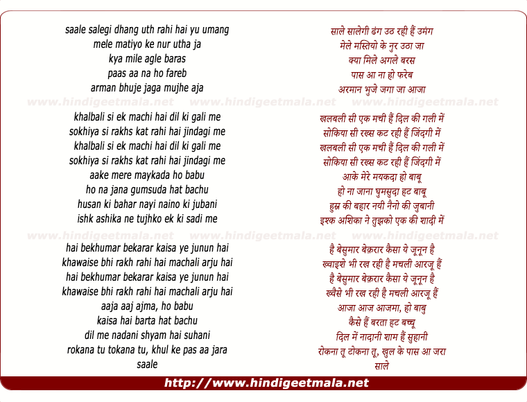 lyrics of song Saaley