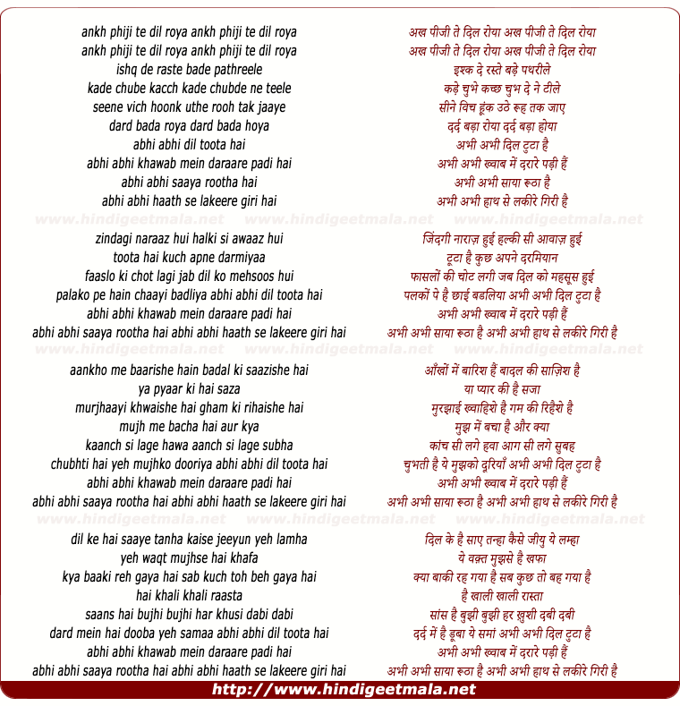 lyrics of song Abhi Abhi Dil Tuta Hai