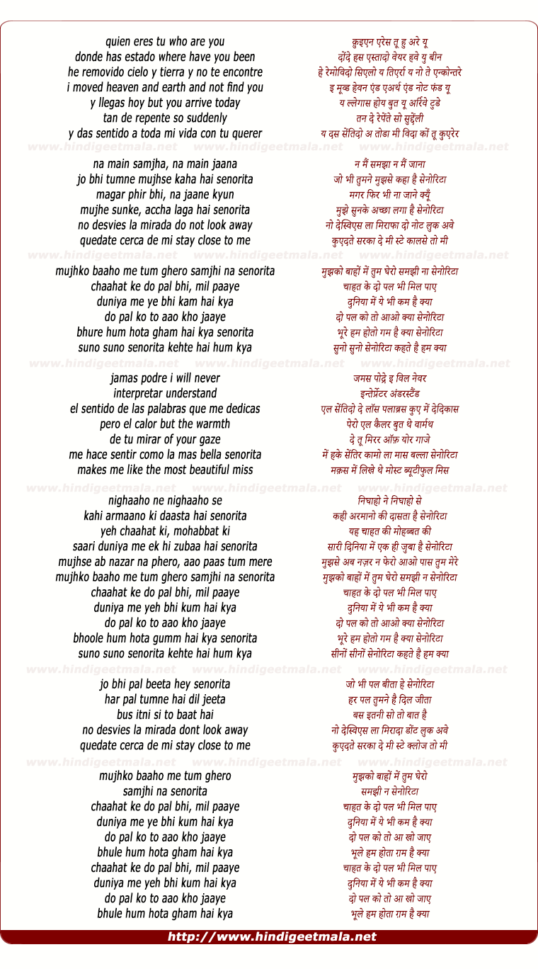 lyrics of song Senorita (Remix)