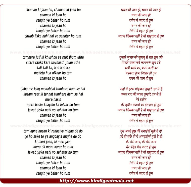 lyrics of song Chaman Ki Jaan Ho, Rangin Ye Bahaar Ho Tum