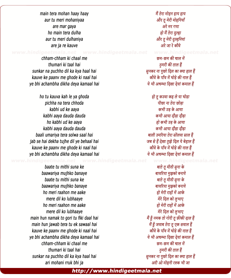 lyrics of song Mai Tera Mohan
