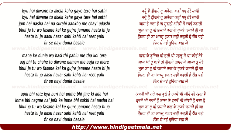 lyrics of song Kyu Hai Diwane Tu Akela, Kahan Gaye Tere Saathi