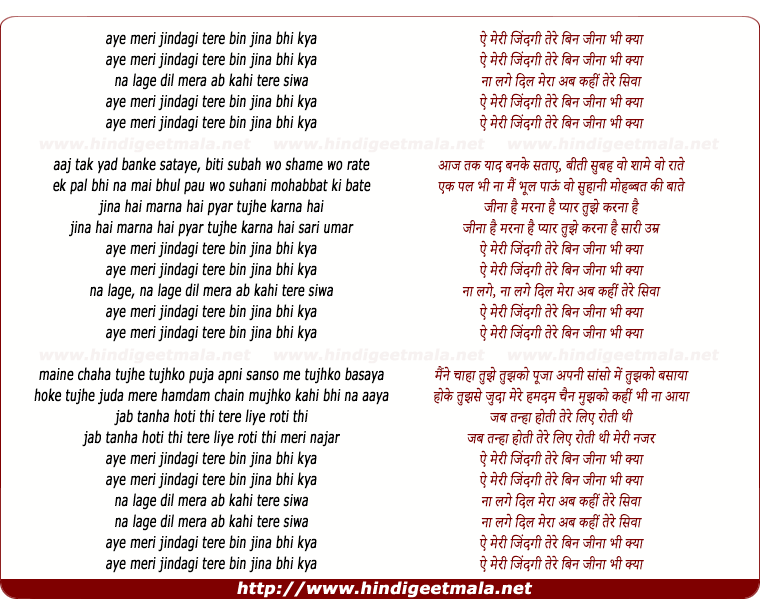 lyrics of song Aye Meri Jindagi Tere Bin Jina Bhi Kya