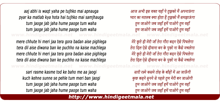 lyrics of song Tum Jaoge Jab Jaha Hume Paoge