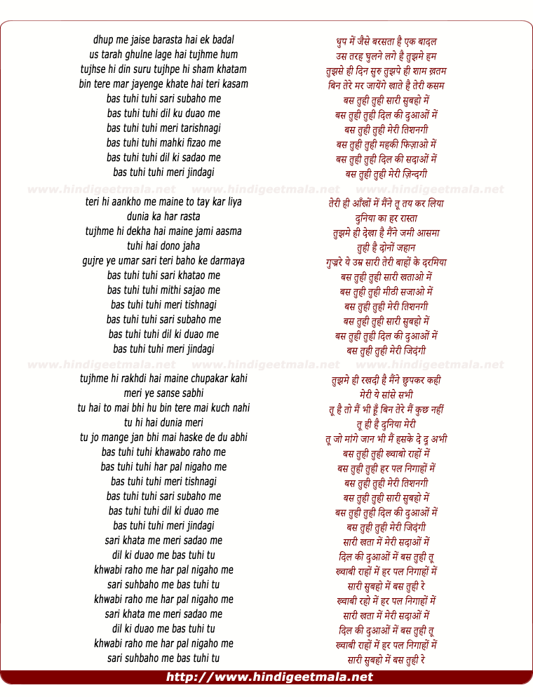 lyrics of song Bas Tu Hi Bas Tu Hi