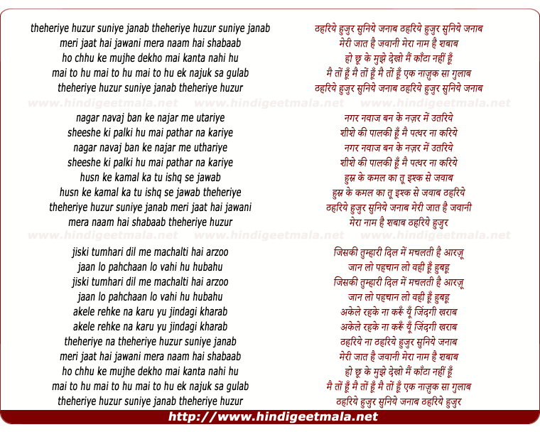 lyrics of song Thahriye Huzur Suniye Janaab