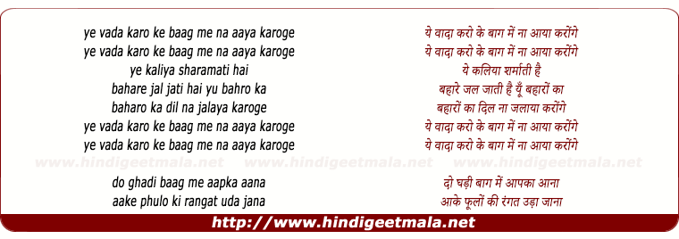 lyrics of song Ye Vaada Karo Baag Me Na Aaya Karogi