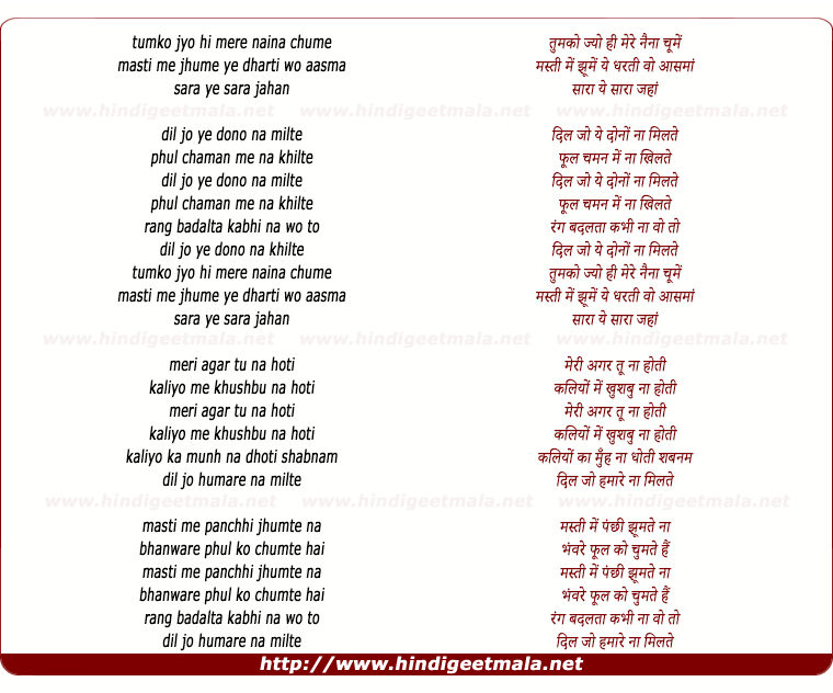 lyrics of song Tumko Jyo Hi Mere Naina Chume