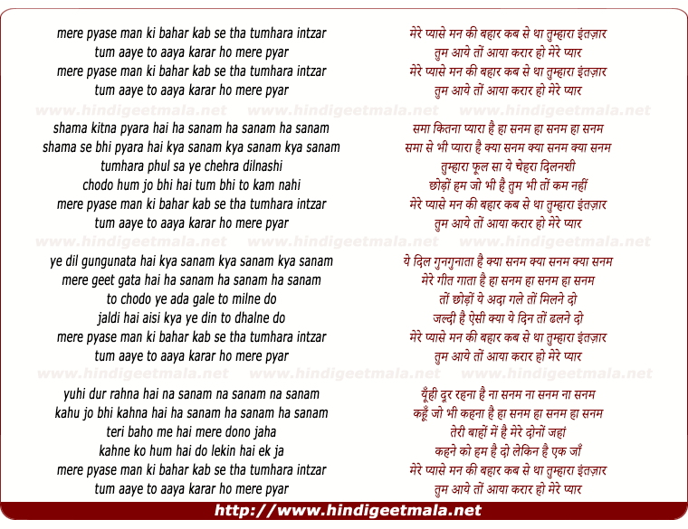 lyrics of song Mere Pyaase Man Ki Bahaar
