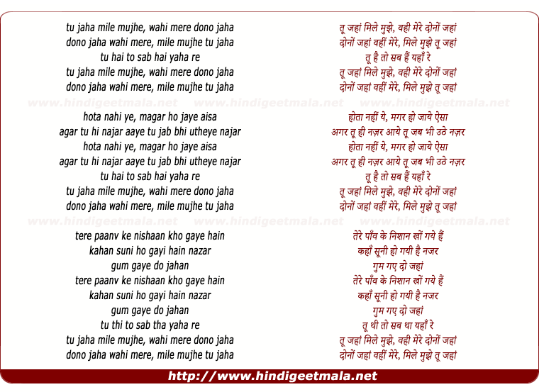 lyrics of song Tu Jaha Mile Mujhe Vahi Mere Dono Jaha (Male)