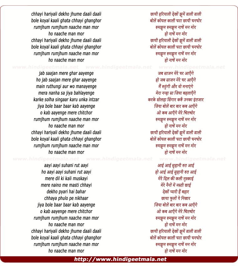 lyrics of song Chayi Hariyali Dekho Jhoome Daal