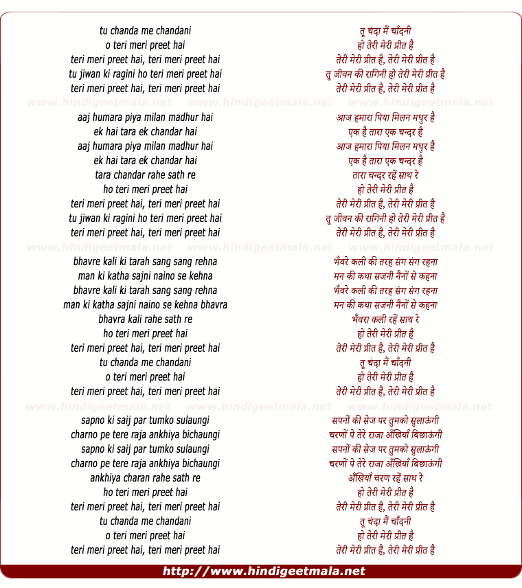 lyrics of song Tu Chanda Mai Chandani Ho Teri Meri Preet Hai