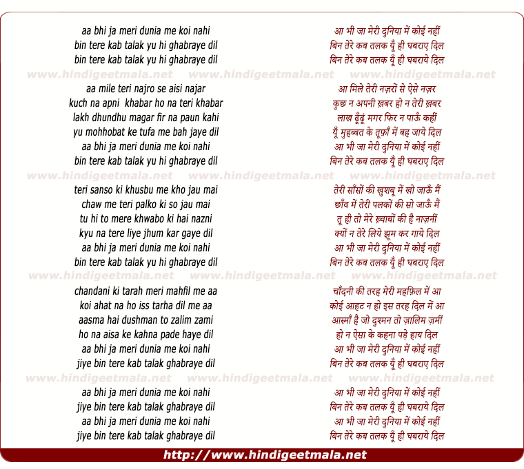 lyrics of song Aa Bhi Ja Meri Duniya Me