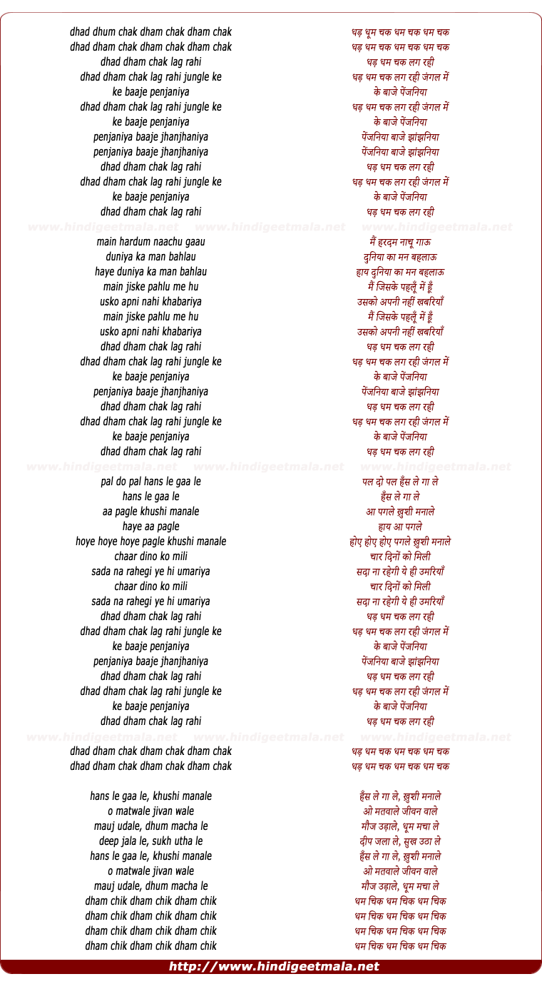 lyrics of song Dham Chak Lag Rahi Jungle Me