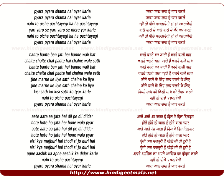 lyrics of song Pyara Pyara Samaan Hai