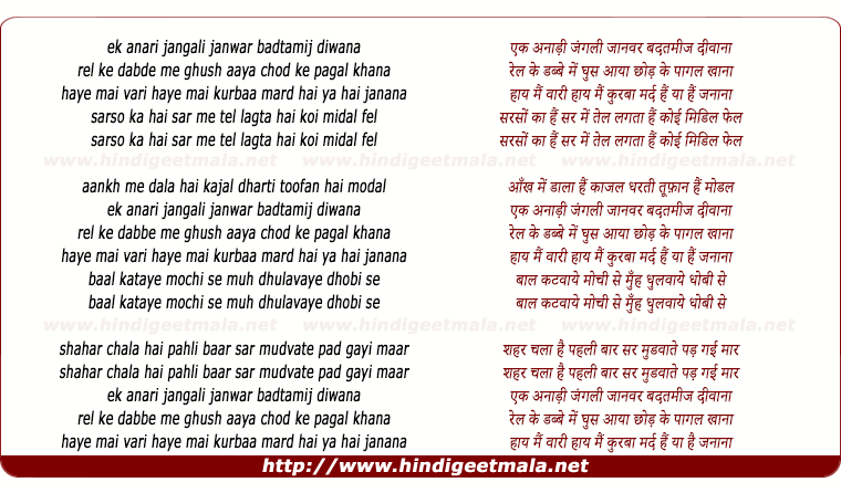 lyrics of song Ek Anari Jangali Janwar Badtamij Diwana