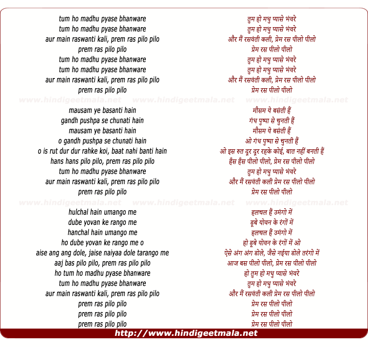 lyrics of song Tum Ho Madhu Pyase Bhanware