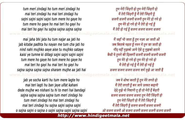 lyrics of song Tum Meri Zindagi Ho Sajani