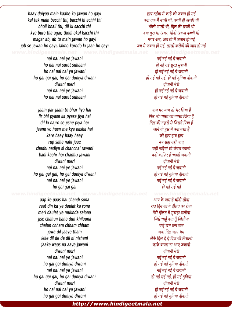 lyrics of song Nayi Nayi Ye Jawani