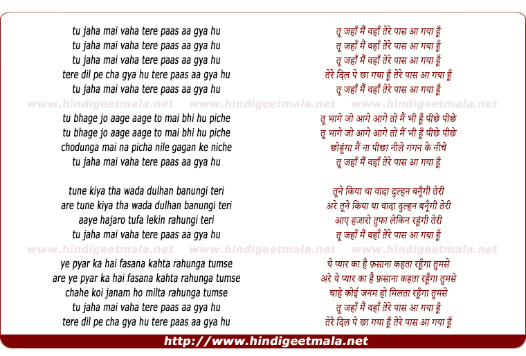 lyrics of song Tu Jaha Mai Waha
