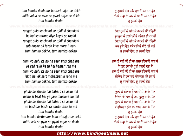 lyrics of song Tu Humko Dekh Aur Hamari Nazar Se Dekh