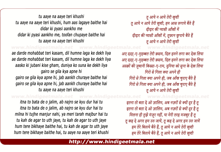 lyrics of song Tu Aaye Na Aaye Teri Khushi