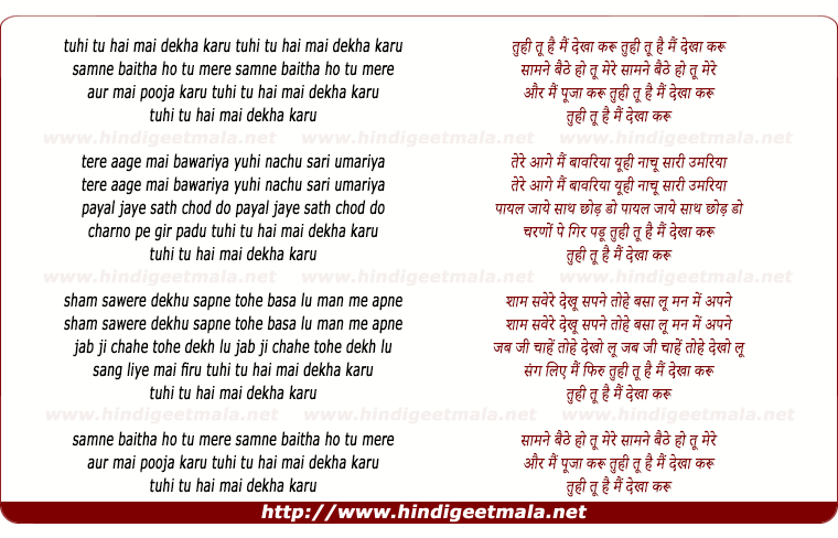 lyrics of song Tu Hi Tu Hai Mai Dekha Karu