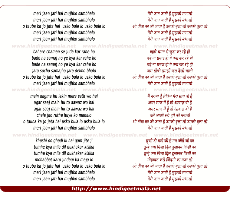 lyrics of song Meri Jan Jati Hai Mujhko Sambhalo
