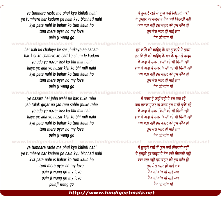 lyrics of song Ye Tumhare Raste Me Phool Kyu Khilati Nahi