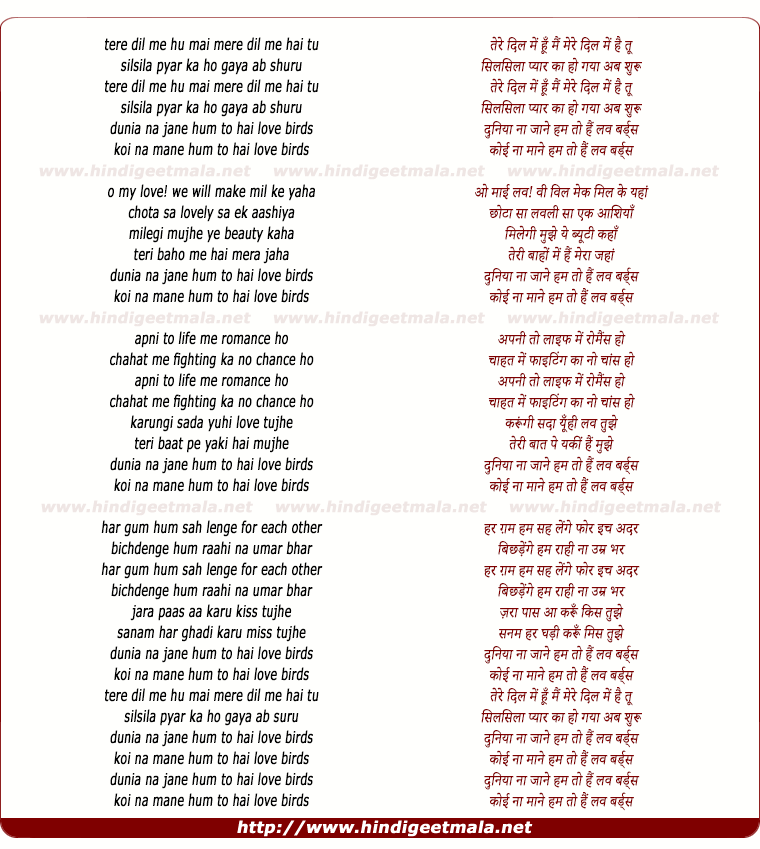 lyrics of song Hum To Hai Love Birds