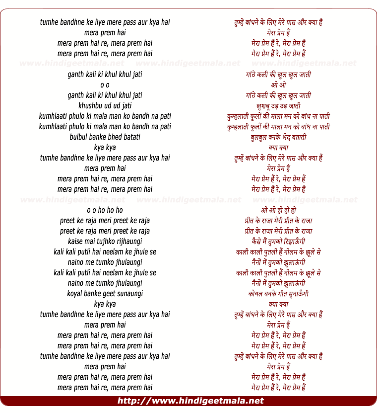 lyrics of song Tumhe Bandhne Ke Liye Mere Paas Aur Kya Hai