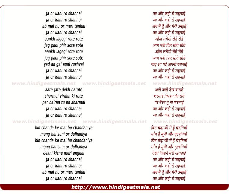 lyrics of song Ja Aur Kahi Ro Shehnai Ja Ab Mai Hu Aur Meri Tanhai