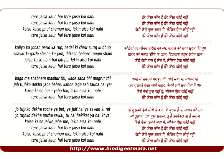 lyrics of song Tere Jaisa Kaun Hai Tere Jaisa Koi Nahi