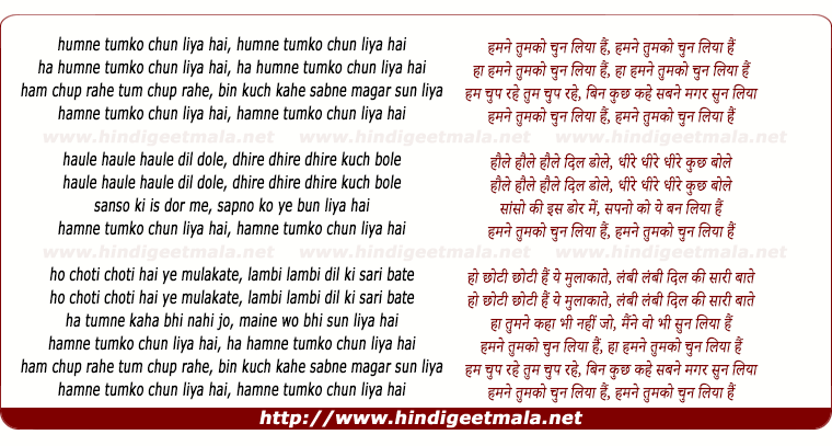 lyrics of song Humne Tumko Chun Liya Hai