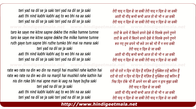 lyrics of song Teri Yaad Na Dil Se Ja Saki