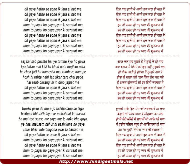 lyrics of song Dil Gaya Haatho Se Apne