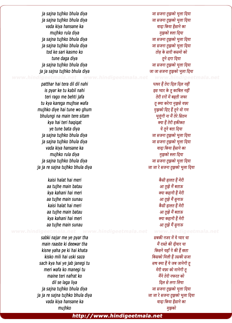 lyrics of song Ja Sajna Tujhko Bhula Diya (Sad)
