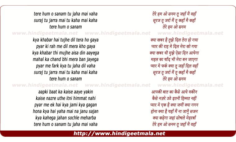 lyrics of song Tere Hum O Sanam