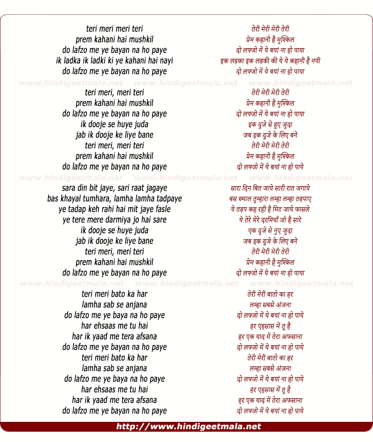 lyrics of song Teri Meri (Remix)