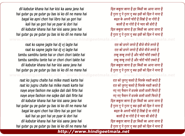lyrics of song Dil Kabutar Khana Hai