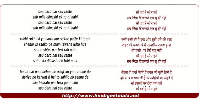 lyrics of song Sau Dard Hai Sau Raahate (Remix)