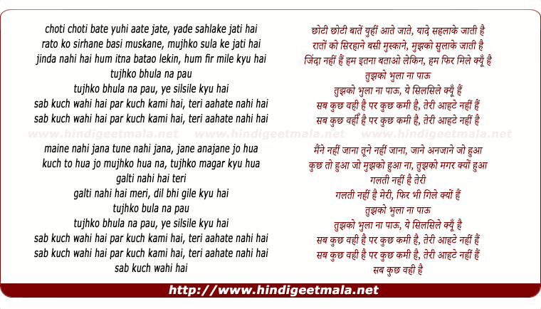 lyrics of song Teri Aahate Nahi Hai (Remix)